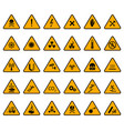 warning signs caution attention warning yellow vector image