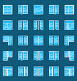 window flat icons set of plastic windows vector image vector image