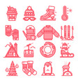 winter line icons sign and symbols in flat design vector image vector image
