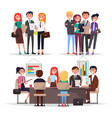 young businessmans on conference colorful banner vector image