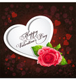 Card for Valentines Day with a red rose vector image