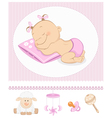 Sleeping sweet girl arrival vector image