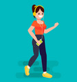 woman run with a jogging player mp3 vector image