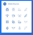 16 wing icons vector image vector image