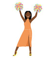african-american girl smiling hands up vector image vector image