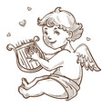 angel with harp and wings cupid valentines day vector image vector image