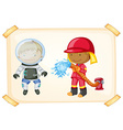 Astronaut and firefighter vector image vector image