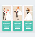 brides and grooms happy just married couples vector image vector image