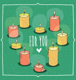 composition with candles in heart shape vector image vector image