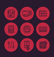 computer components line icons set vector image