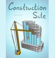 construction site and tower crane city vector image vector image