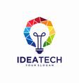 creative bulb technology logo template vector image
