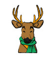 cute reindeer with scarf ico vector image