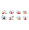 eight scenes showing smart personal training vector image vector image