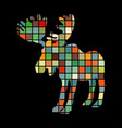 elk mammal color silhouette animal vector image vector image