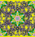 flowers on yellow green and black colors fabric vector image