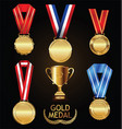 gold trophy and medal with laurel wreath vector image