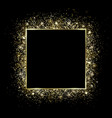 golden square frame and glitter glowing particles vector image
