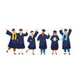 group of happy graduated students wearing academic vector image