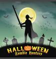halloween knight with sword in night graveyard vector image vector image
