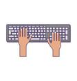 hands using computer keyboard blue lines vector image vector image
