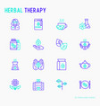 herbal therapy thin line icons set vector image vector image