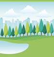 landscape park and city vector image