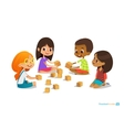 Laughing and smiling kids sit on floor in circle vector image
