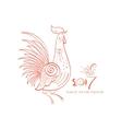 Line-art fantasy rooster vector image vector image