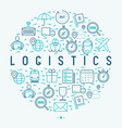 logistics concept in circle with thin line icons vector image vector image