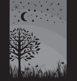 midnight silhouette tree grass moon and stars vector image