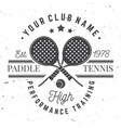 paddle tennis badge emblem or sign vector image
