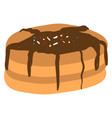 pancake with chocolate on white background vector image vector image