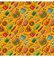 pattern with fast food products vector image