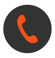 Phone flat orange and gray colors round button vector image