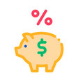 piggy bank pig money icon outline vector image vector image