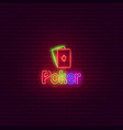 poker neon sign vintage signboard vector image vector image