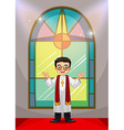 Priest doing church service in the church vector image