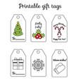 printable christmas and new year gift tags winter vector image