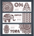 set banners with ethnic and yoga symbols vector image vector image