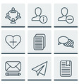 set of 9 social icons includes note page edit vector image