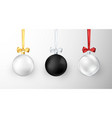 set of christmas balls realistic glossy xmas and vector image