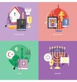 Set of flat design concept icons for religions and vector image vector image
