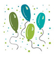 shades blue and green balloons are floating vector image