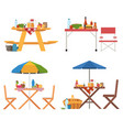 summer picnic tables collection vector image vector image