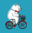 the bear on the bicycle with basket and flowers vector image