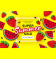 watermelon and strawberry super summer sale banner vector image