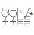 Wine Beer Cocktail and Water Gla vector image vector image