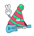 with guitar party hat mascot cartoon vector image