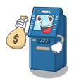 with money bag atm machine isolated with the vector image vector image